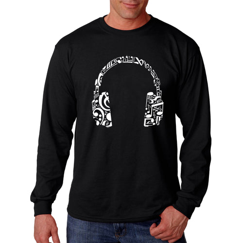 LA Pop Art Men's Word Art Long Sleeve T-shirt - Music Note Headphones