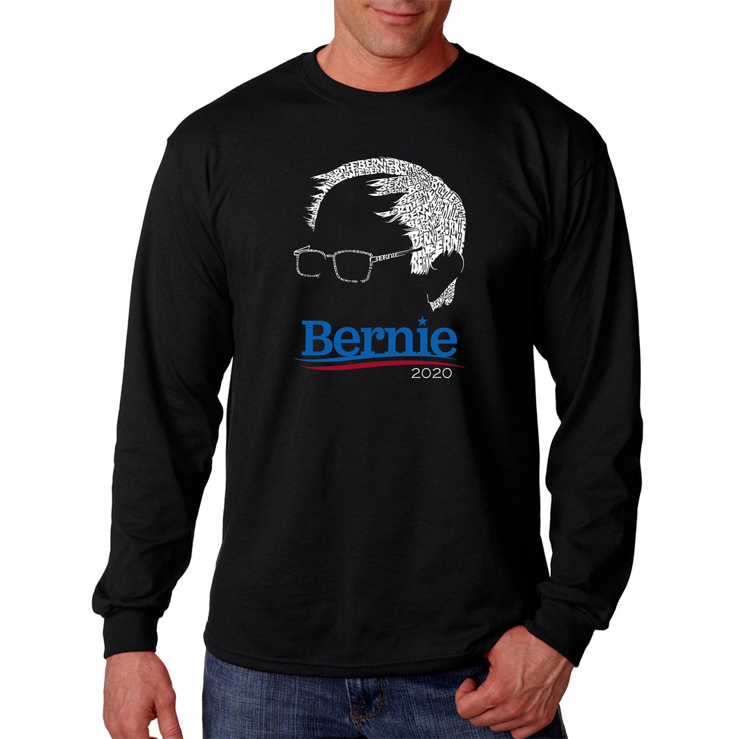 LA Pop Art Men's Word Art Long Sleeve T-shirt - Bernie Sanders 2020