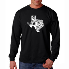 Load image into Gallery viewer, LA Pop Art Men's Word Art Long Sleeve T-shirt - Everything is Bigger in Texas