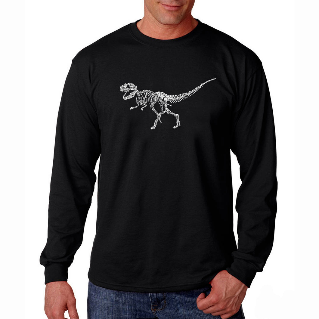 LA Pop Art Men's Word Art Long Sleeve T-shirt - Dinosaur T-Rex Skeleton