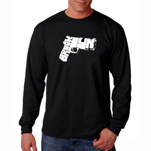 LA Pop Art Men's Word Art Long Sleeve T-shirt - BROOKLYN GUN