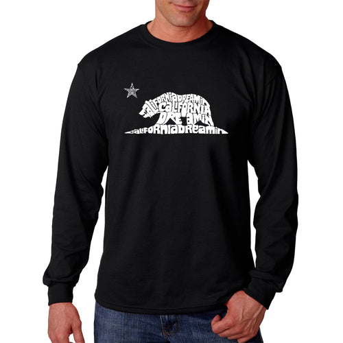 LA Pop Art Men's Word Art Long Sleeve T-shirt - California Dreamin
