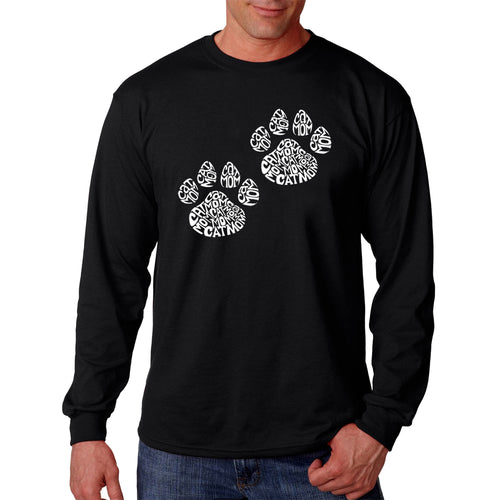 LA Pop Art Men's Word Art Long Sleeve T-shirt - Cat Mom