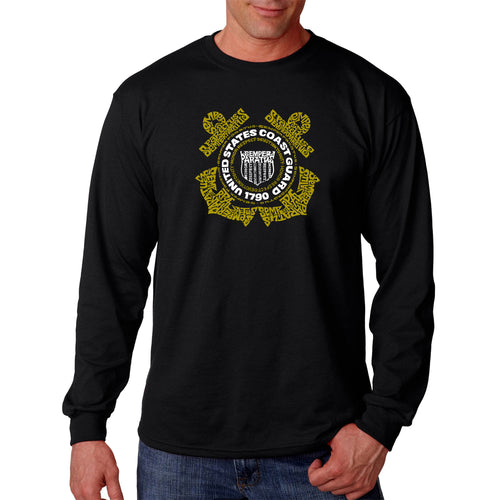 LA Pop Art Men's Word Art Long Sleeve T-shirt - Coast Guard