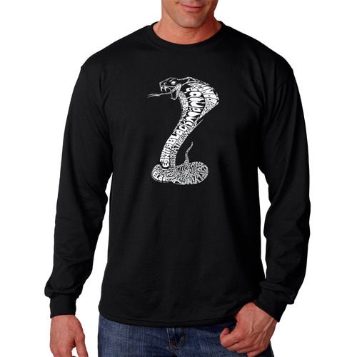 LA Pop Art  Men's Word Art Long Sleeve T-shirt - Types of Snakes