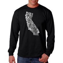 Load image into Gallery viewer, LA Pop Art  Men's Word Art Long Sleeve T-shirt - California State