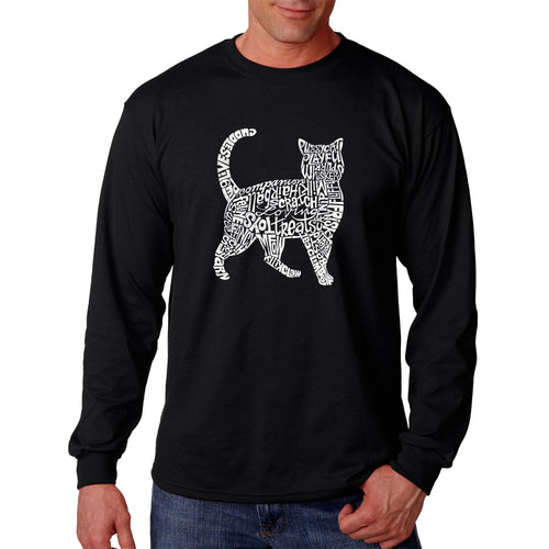 LA Pop Art Men's Word Art Long Sleeve T-shirt - Cat