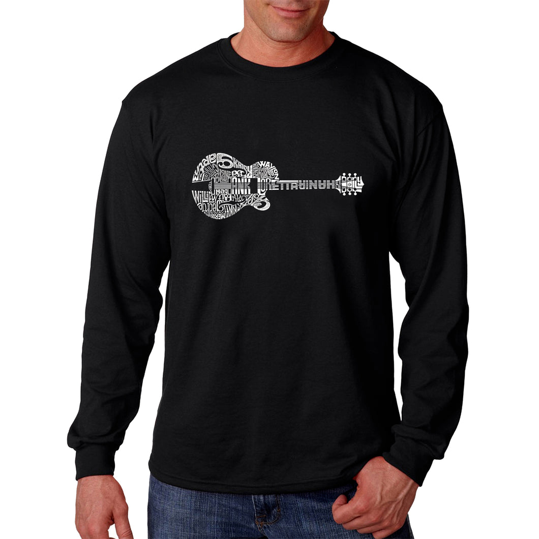 LA Pop Art Men's Word Art Long Sleeve T-shirt - Country Guitar
