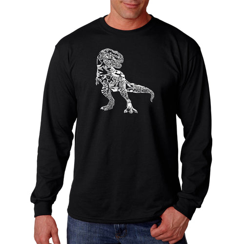 LA Pop Art Men's Word Art Long Sleeve T-shirt - Dino Pics