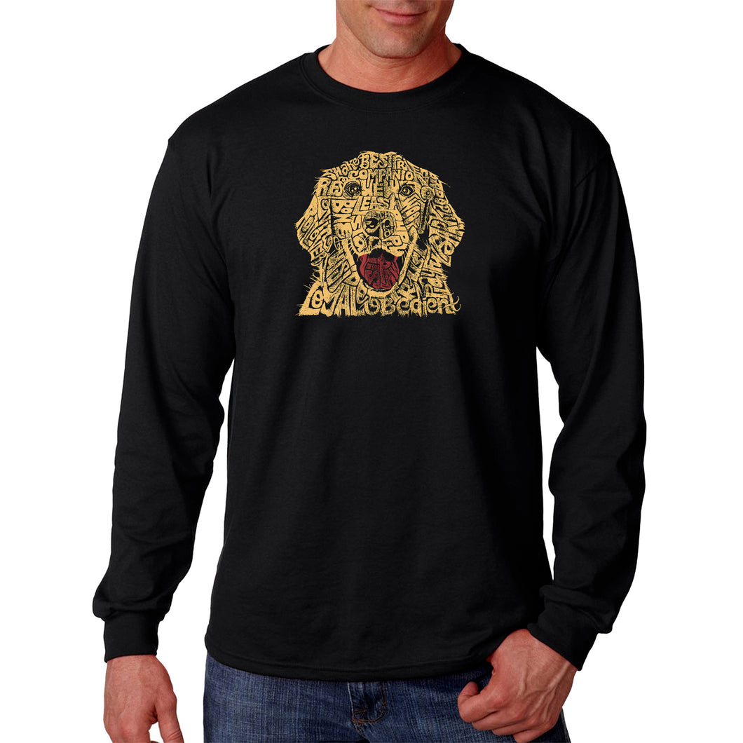 LA Pop Art Men's Word Art Long Sleeve T-shirt - Dog