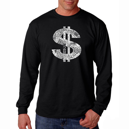 LA Pop Art Men's Word Art Long Sleeve T-shirt - Dollar Sign
