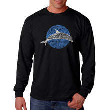 Load image into Gallery viewer, LA Pop Art  Men's Word Art Long Sleeve T-shirt - Species of Dolphin
