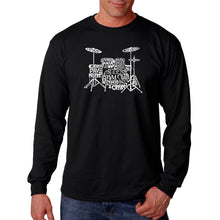 Load image into Gallery viewer, LA Pop Art Men's Word Art Long Sleeve T-shirt - Drums