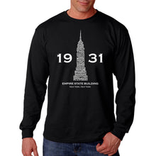 Load image into Gallery viewer, LA Pop Art Men's Word Art Long Sleeve T-shirt - Empire State Building