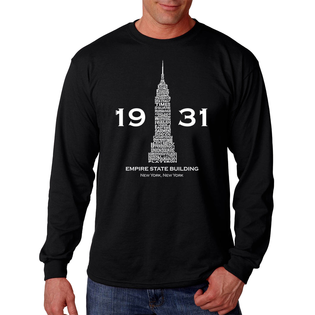 LA Pop Art Men's Word Art Long Sleeve T-shirt - Empire State Building