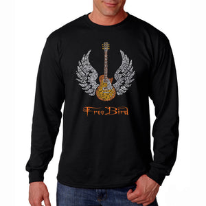 LA Pop Art Men's Word Art Long Sleeve T-shirt - LYRICS TO FREE BIRD