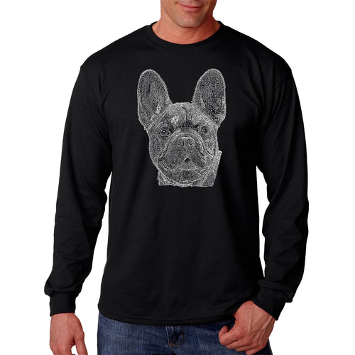 LA Pop Art Men's Word Art Long Sleeve T-shirt - French Bulldog