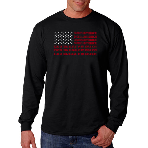 LA Pop Art Men's Word Art Long Sleeve T-shirt - God Bless America