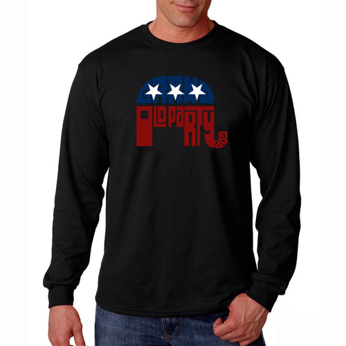 LA Pop Art Men's Word Art Long Sleeve T-shirt - REPUBLICAN - GRAND OLD PARTY