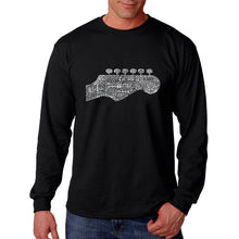 Load image into Gallery viewer, LA Pop Art Men's Word Art Long Sleeve T-shirt - Guitar Head