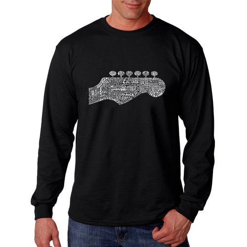 LA Pop Art Men's Word Art Long Sleeve T-shirt - Guitar Head