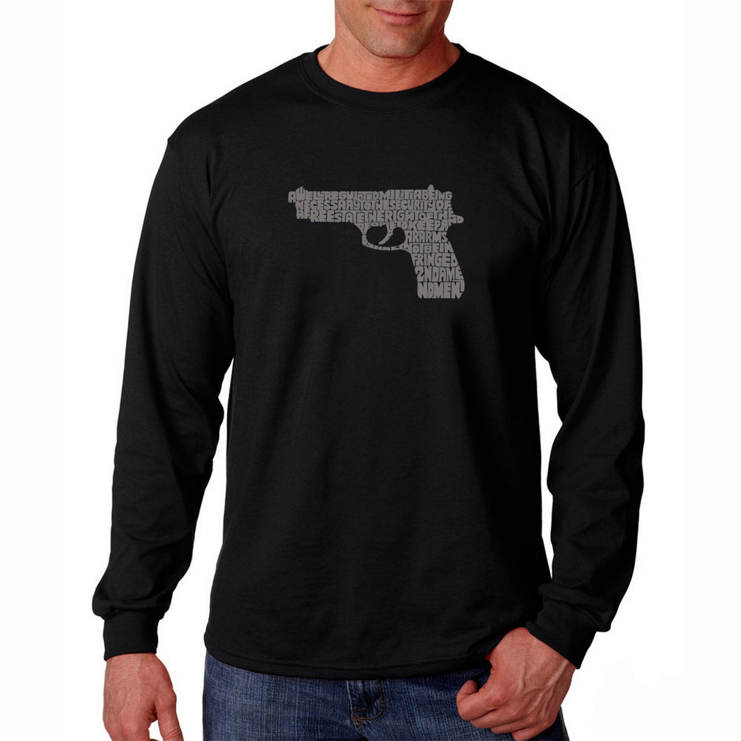 LA Pop Art Men's Word Art Long Sleeve T-shirt - RIGHT TO BEAR ARMS