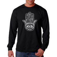 Load image into Gallery viewer, LA Pop Art Men's Word Art Long Sleeve T-shirt - Hamsa