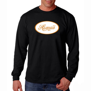 LA Pop Art Men's Word Art Long Sleeve T-shirt - HAWAIIAN ISLAND NAMES & IMAGERY