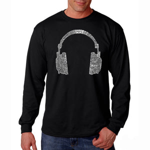LA Pop Art Men's Word Art Long Sleeve T-shirt - 63 DIFFERENT GENRES OF MUSIC
