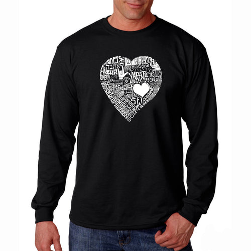 LA Pop Art Men's Word Art Long Sleeve T-shirt - LOVE IN 44 DIFFERENT LANGUAGES