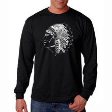 Load image into Gallery viewer, LA Pop Art Men's Word Art Long Sleeve T-shirt - POPULAR NATIVE AMERICAN INDIAN TRIBES
