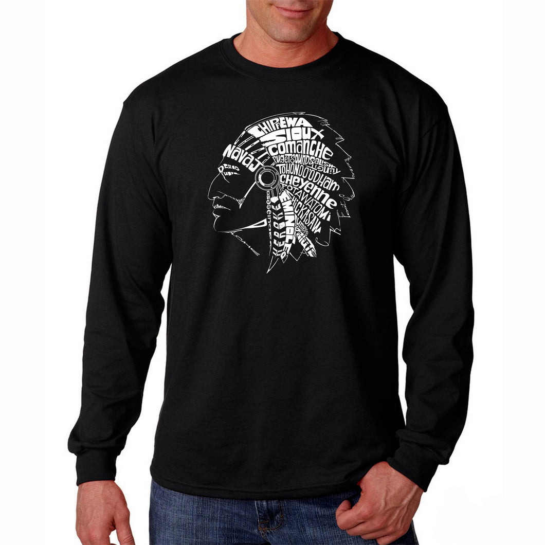 LA Pop Art Men's Word Art Long Sleeve T-shirt - POPULAR NATIVE AMERICAN INDIAN TRIBES