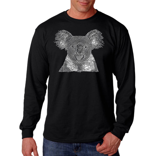 LA Pop Art Men's Word Art Long Sleeve T-shirt - Koala