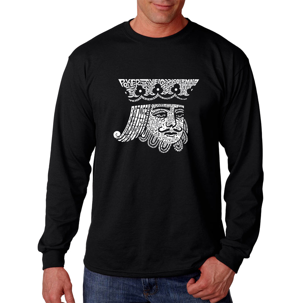 LA Pop Art Men's Word Art Long Sleeve T-shirt - King of Spades