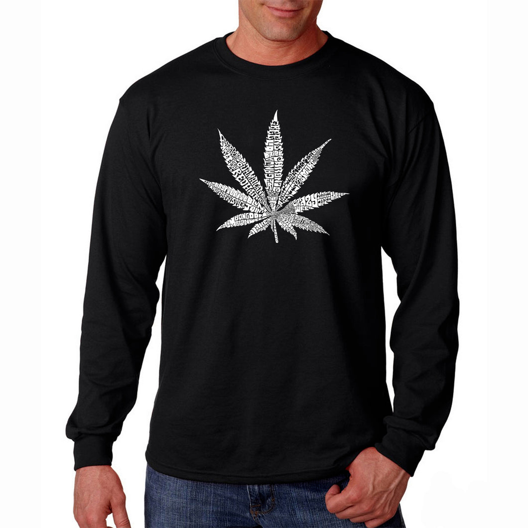 LA Pop Art Men's Word Art Long Sleeve T-shirt - 50 DIFFERENT STREET TERMS FOR MARIJUANA