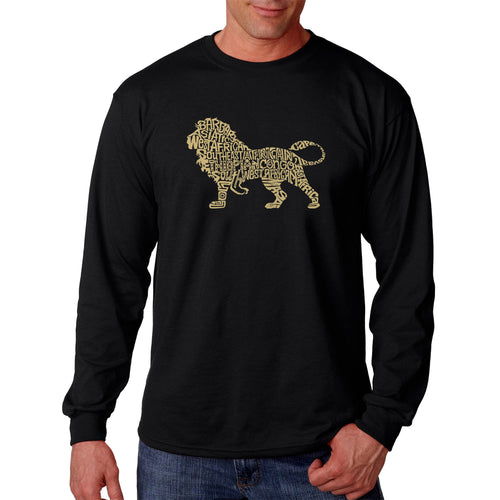 LA Pop Art Men's Word Art Long Sleeve T-shirt - Lion