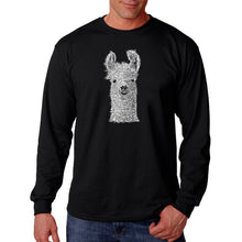 Load image into Gallery viewer, LA Pop Art Men's Word Art Long Sleeve T-shirt - Llama