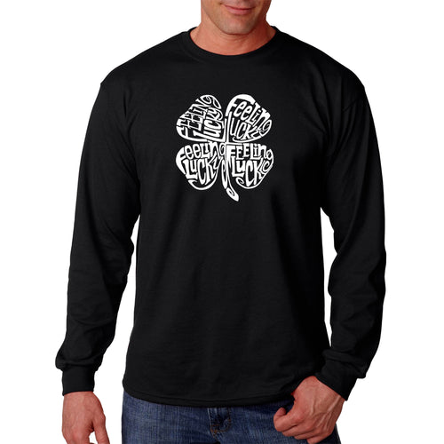 LA Pop Art Men's Word Art Long Sleeve T-shirt - Feeling Lucky