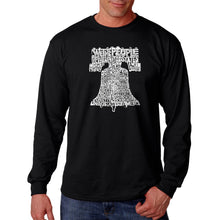 Load image into Gallery viewer, LA Pop Art  Men's Word Art Long Sleeve T-shirt - Liberty Bell