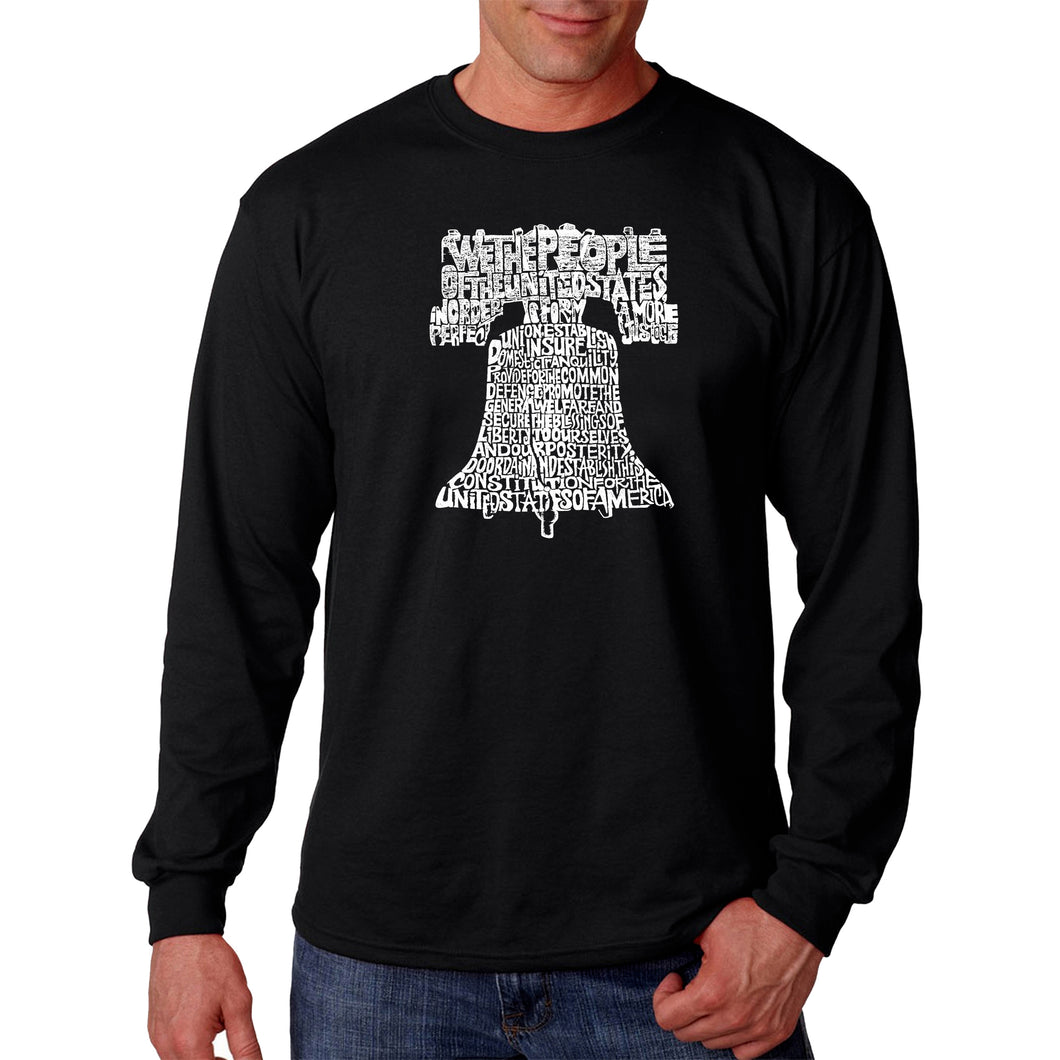 LA Pop Art  Men's Word Art Long Sleeve T-shirt - Liberty Bell