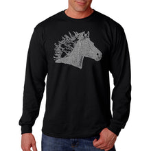 Load image into Gallery viewer, LA Pop Art Men's Word Art Long Sleeve T-shirt - Horse Mane
