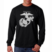 Load image into Gallery viewer, LA Pop Art Men's Word Art Long Sleeve T-shirt - LYRICS TO THE MARINES HYMN