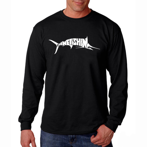 LA Pop Art Men's Word Art Long Sleeve T-shirt - Marlin - Gone Fishing