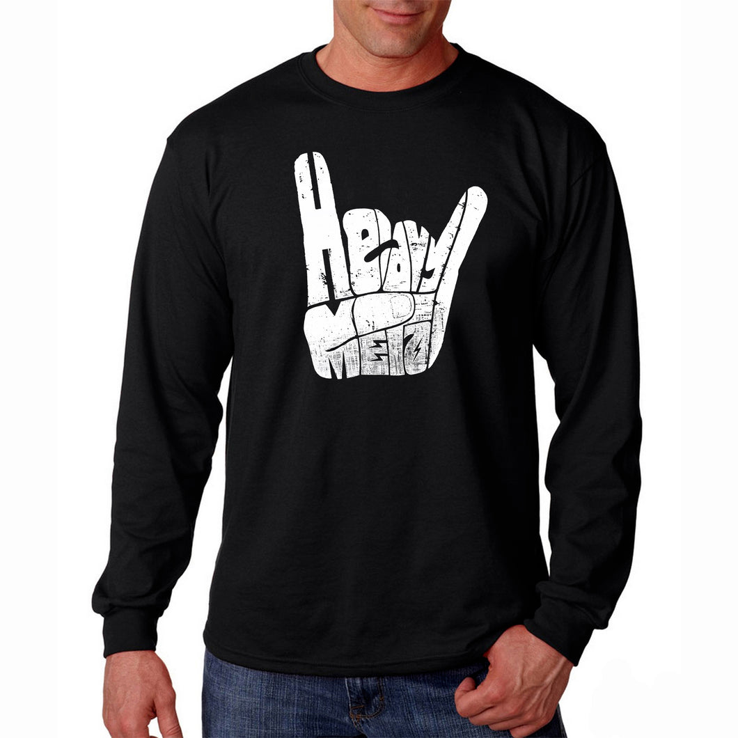 LA Pop Art Men's Word Art Long Sleeve T-shirt - Heavy Metal