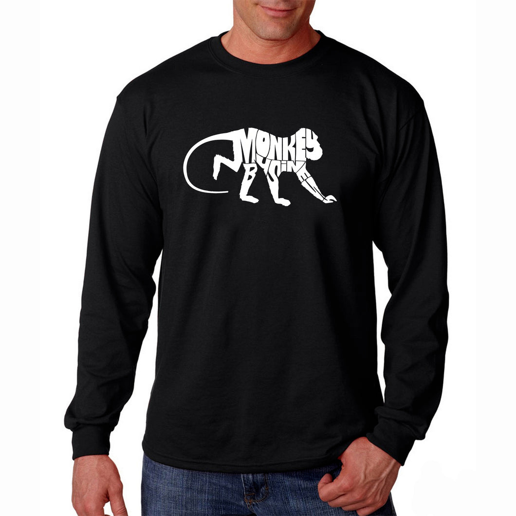 LA Pop Art Men's Word Art Long Sleeve T-shirt - Monkey Business
