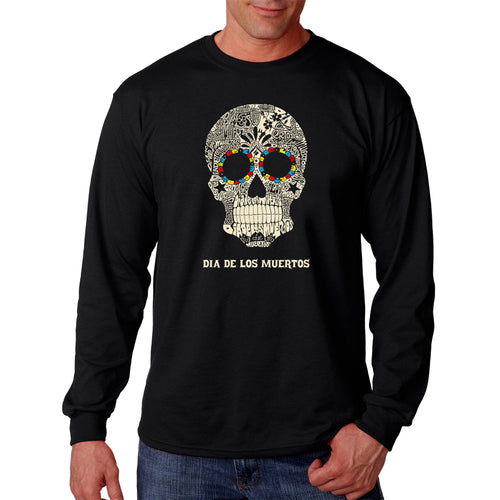 LA Pop Art Men's Word Art Long Sleeve T-shirt - Dia De Los Muertos