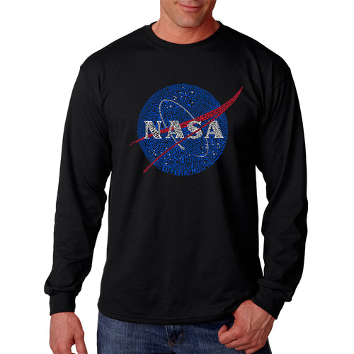 LA Pop Art  Men's Word Art Long Sleeve T-shirt - NASA's Most Notable Missions