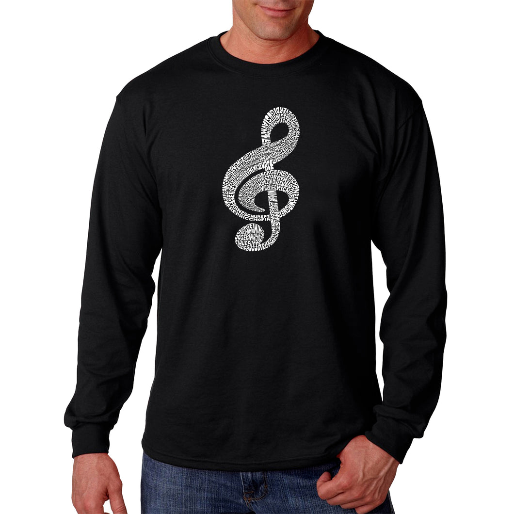 LA Pop Art  Men's Word Art Long Sleeve T-shirt - Music Note