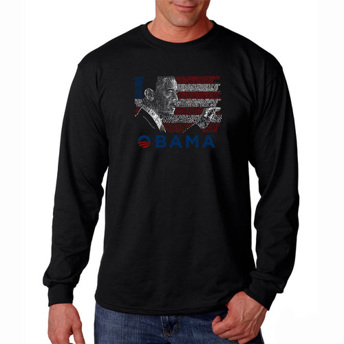 LA Pop Art Men's Word Art Long Sleeve T-shirt - BARACK OBAMA - ALL LYRICS TO AMERICA THE BEAUTIFUL