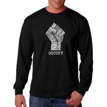 Load image into Gallery viewer, LA Pop Art Men's Word Art Long Sleeve T-shirt - OCCUPY WALL STREET - FIGHT THE POWER